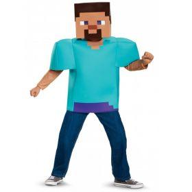 Bilde av en gutt utkledd i Minecraft Steve kostyme. Blå firkantet overdel og maske.