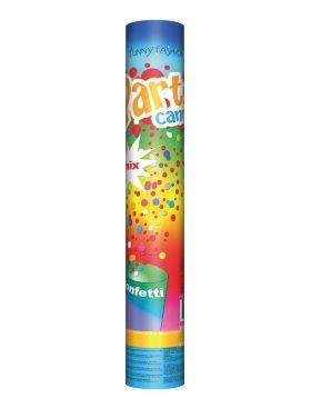 konfettikanon med et spekter av farger på tuben hvor det står party cannon mix