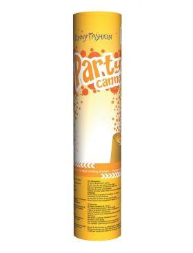 konfettikanon som inneholder gullfarget konfetti og kanoen er orrange og gullfarget på utsiden med tekst som sier party cannon gold