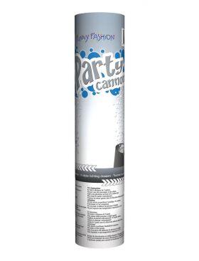 konfettikanon som inneholder sølvfarget konfetti og kanoen er gråfarge på utsiden med tekst som sier party cannon silver