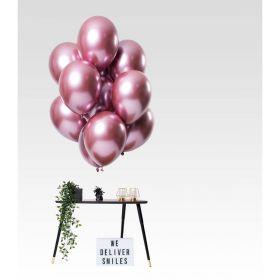 Rosa speilballonger, 12 stk.