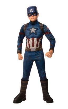 Bilde av Captain America Deluxe kostyme til barn. Blå jumpsuit med rød og hvite detaljer. innsydde muskler og en matchende maske.