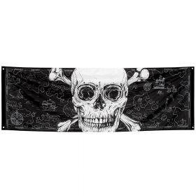 stilig banner i sort med et stort, hvitt hodeskall i midten og med små kart-detaljer i tynne hvite streker på bakgrunnen.