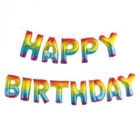 Happy Birthday regnbuefarget folieballong banner