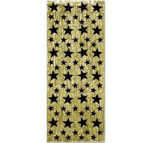 Glittergardin, gull med stjerner