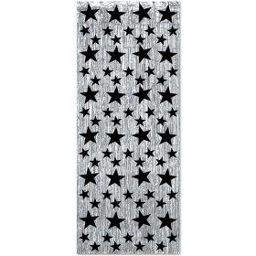 Glittergardin, sølv med stjerner