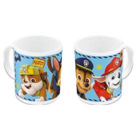 hvit kopp med lyseblå bakgrunn og de fire hundene glade løper avgårde mot deg. I fargene ble, gul, brun, hvit, rød og sort.