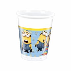 Plastkopper i fargene blå, hvit og gul med svarte detaljer. Motivet er med flere av de søte og morsomme karakterene i filmserien Minions.