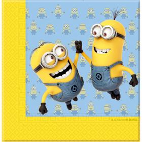Minions servietter i fargene gul, blå og hvit med svarte detaljer. Motivet er av to av karakteren fra filmserien minions som lekent tar en high-five med et stort smil om munnen