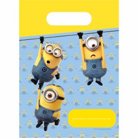 Godteposer med motiv av tre karakterer fra minions filmserien som lekent henger i en trå - noe som samsvarer med den lekne og sprellende siden disse karakerene symboliserer. Posene er i farene gul, blå, hvit og med svarte detaljer. Eget felt til å skrive