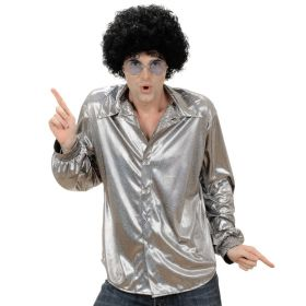 Discoskjorte holografisk sølv