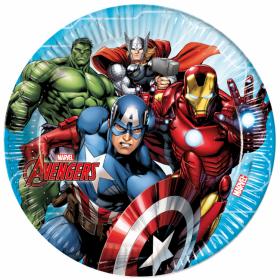 Rund tallerken 23cm med bilda av heltene fra Avengers