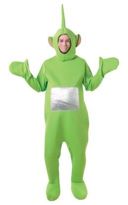 Bilde av en mann i Dipsy kostyme. Grønn heldrakt med votter og skotrekk. Hodeplagg ører og antenne.
