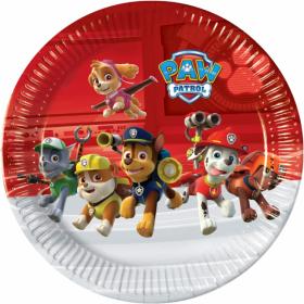Inviter Chase, Marshall og de andre karakterne fra Paw Patrol til selskapet ditt med disse fargerike tallerknene. Tallerknene har en rød og hvit bakgrunn med motiv av  seriens karakterer, Chase, Rubble, Marshall, Zuma, Rocky og Sky.