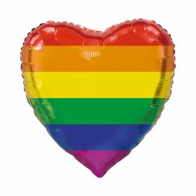 Foliballong hjerte Rainbow, 90cm