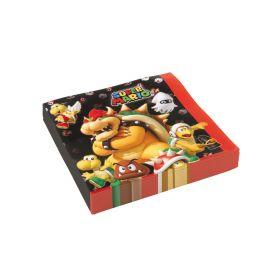 Servietter i tøffe farger av rød, mørk brun, svart og gule dataljer med motiv av Super Mario karakterene Browser, Koopa Troopa og Spiny med på selskapet med disse råtøffe serviettene som tar bordekkingen til nye høyder.
