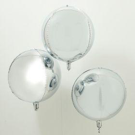 Runde sølv folieballonger, 3 stk.