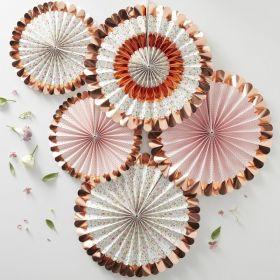 Blomster og rosegull vifter, 5pk