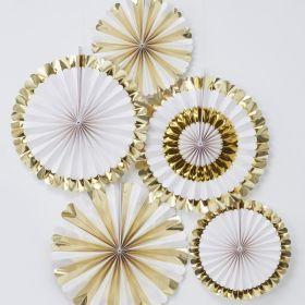 Hvit og gull vifter, 5 stk