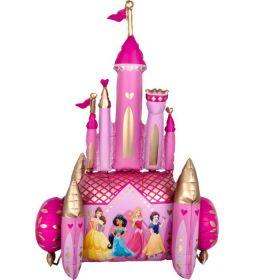 Disney prinsesseslott selvstående ballongdekorasjon. Slottet har flere tårn med vimpel-flagg i rosa som vaier på majestetisk vis. Slottet er i fargen rosa og med store gullfargede vinduer rundt omkring og flere gulldetaljer.