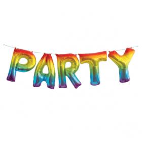 Party regnbuefarget folieballong banner