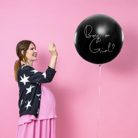Gender reveal ballong 1m, Fylt rosa