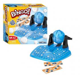 bingospill med blått brett til å sette ned bingokulene som blir trukket ut, gjennomsiktig, blå bingokule og sort spak til å snurre bingoballen rundt. med 24 bingokort i fagene ordange og hvit med gjennomsiktige blå brikker til å legge over tallene du har