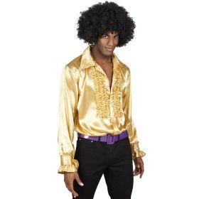 Bilde av en mann i Disco Skjorte Gull. Gullfarget skjorte med rysjete bryst.