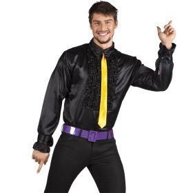 Bilde av en mann i Disco Skjorte Sort. Sort skjorte med rysjete bryst.
