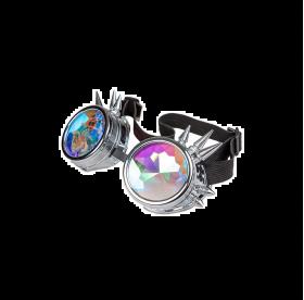 råstilige briller med sølv kan rundt brillene og med 5 nagler rundt hvert brilleglass. brillene har en svart tropp som går bak hodet og som kan justeres