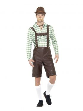 Bilde av en mann i Grønn & Brun Oktoberfestkostyme. Hvit og grønnrutete skjorte og brune bukser med bukseseler.