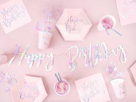 iridescent løkkeskrift happy birthday girlander i skinnende papp