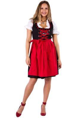 Bilde av en dame kledd i Sort Dirndl. Sort kjole med rysjete krage, rose broderi på brystet, hvit bluse og rødt forkle.