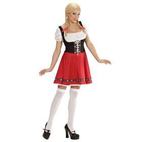 Bilde av en dame kledd ut i Heidi Oktoberfestkjole. Rød kjole med påsydd sort korsett og innsydd hvit bluse.