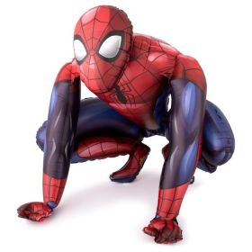 Spider-Man ballongdekorasjon som er selvstående i fargene blå og rød med sorte detlajer slik vi kjenner den klassiske spider-man drakten