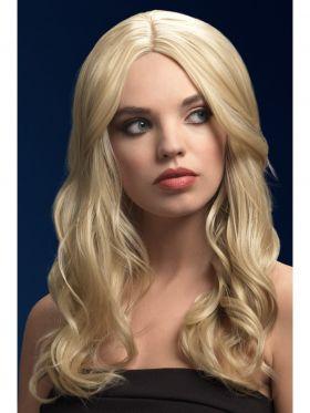 mørk blondt hår med lette krøller, 66cm langt med midtskill på toppen. parykk av høy kvalitet!