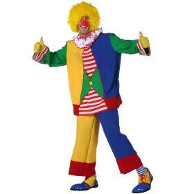 Bilde av en mann kledd ut i Klovnekostyme til herre. Gul, grønn og rød-stripete jakke med hvit og rød foldet krage. Blå, rød og gule bukser.