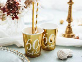 50år Bursdag Pappkrus Gull, 6 stk
