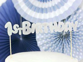 Cake Topper, 1st Birthday Sølv