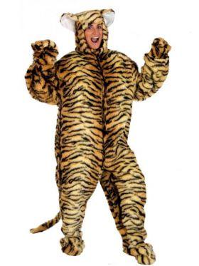 Bilde av en dame i Tiger kostyme. Kjeledress i akryl med påsydd hale, skoovertrekk, votter og en hette med påsydde ører.