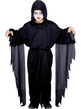 Bilde av et barn i Skrik Spøkelse kostyme. En sort kjortel med et sort belte, hette og lange frynsete ermer.