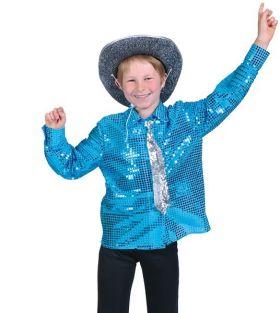 Bilde av en gutt i Blå Discoskjorte til barn med paljetter.