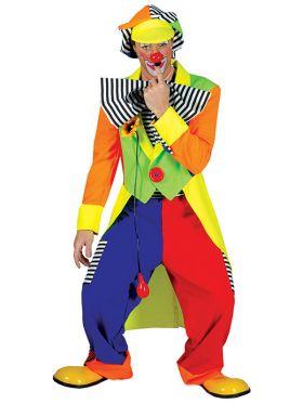 Bilde av en mann kledd ut i Olaf Klovnekostyme. Kostymet består av en fargerik snippkjole, baggy bukser, morsom hatt og en stor tversoversløyfe.
