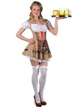 Bilde av en dame ikledd Tyrolerkjole Alpine Girl. Beige kjole med hvit blondekant, innsydd hvit bluse og et brunt forkle.