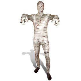 Bilde av en mann ikledd Morphsuit Mummy. En hvit heldrakt med bandasje mønster og blodflekker.
