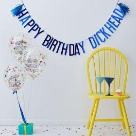 metallisk blått girlander med happy birthday dickhead girlander med 5 konfettiballonger med samme tekst i sort med fargerik konfetti inni og ballongene er transparente