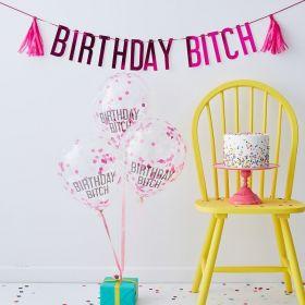 Ballong Og Banner Sett, Birthday Bitch