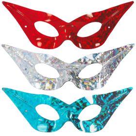 Bilde av øyemaske Neon i fargene rød, sølv og turkis.