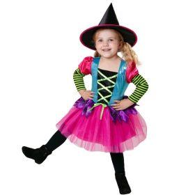 Bilde av en jente ikledd Neon heksekostyme, et fargerikt barnekostyme til barn med tilhørende hatt