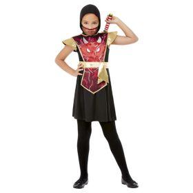Bilde av Ninja Jente med sort kjole med rød og gullfargede detaljer, ninjasverd, sort hette og maske.